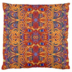 Oriental Watercolor Ornaments Kaleidoscope Mosaic Large Flano Cushion Case (One Side)