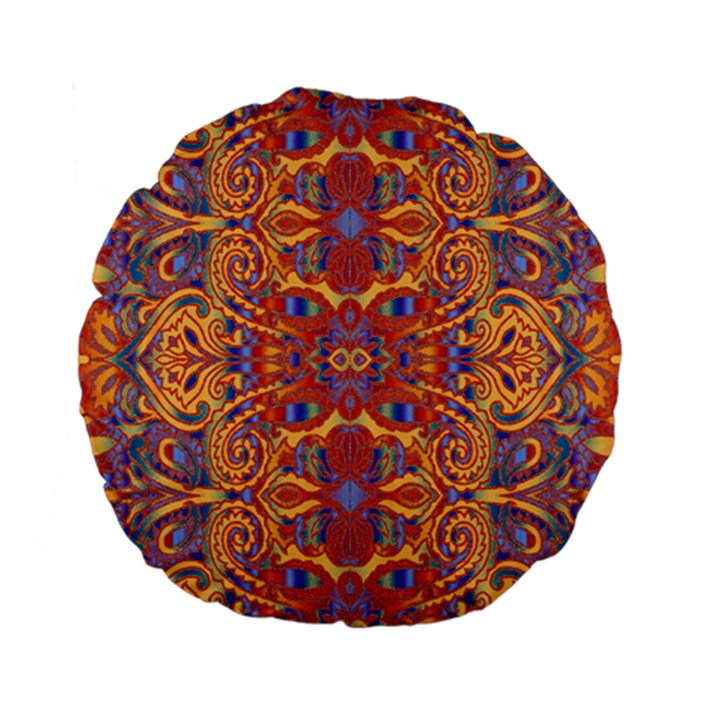Oriental Watercolor Ornaments Kaleidoscope Mosaic Standard 15  Premium Flano Round Cushions