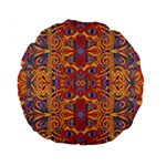 Oriental Watercolor Ornaments Kaleidoscope Mosaic Standard 15  Premium Flano Round Cushions Back