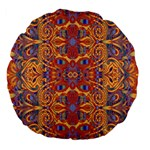 Oriental Watercolor Ornaments Kaleidoscope Mosaic Large 18  Premium Flano Round Cushions Back