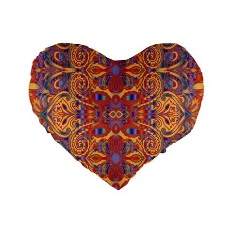 Oriental Watercolor Ornaments Kaleidoscope Mosaic Standard 16  Premium Flano Heart Shape Cushions