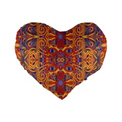 Oriental Watercolor Ornaments Kaleidoscope Mosaic Standard 16  Premium Flano Heart Shape Cushions