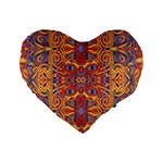 Oriental Watercolor Ornaments Kaleidoscope Mosaic Standard 16  Premium Flano Heart Shape Cushions Front