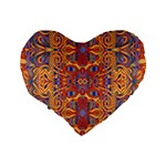 Oriental Watercolor Ornaments Kaleidoscope Mosaic Standard 16  Premium Flano Heart Shape Cushions Back