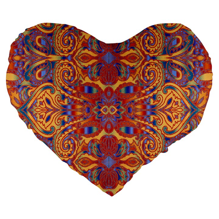 Oriental Watercolor Ornaments Kaleidoscope Mosaic Large 19  Premium Flano Heart Shape Cushions