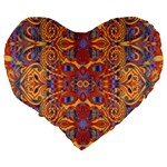 Oriental Watercolor Ornaments Kaleidoscope Mosaic Large 19  Premium Flano Heart Shape Cushions Back