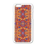 Oriental Watercolor Ornaments Kaleidoscope Mosaic Apple iPhone 6/6S White Enamel Case Front