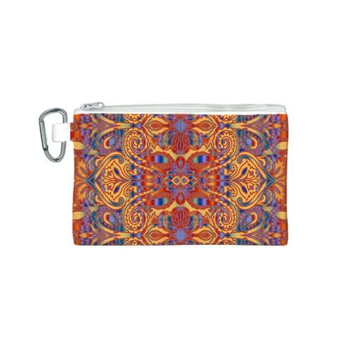 Oriental Watercolor Ornaments Kaleidoscope Mosaic Canvas Cosmetic Bag (S)