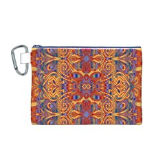 Oriental Watercolor Ornaments Kaleidoscope Mosaic Canvas Cosmetic Bag (M)