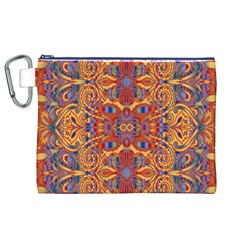 Oriental Watercolor Ornaments Kaleidoscope Mosaic Canvas Cosmetic Bag (XL)