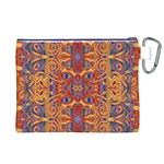 Oriental Watercolor Ornaments Kaleidoscope Mosaic Canvas Cosmetic Bag (XL) Back