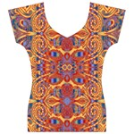 Oriental Watercolor Ornaments Kaleidoscope Mosaic Women s V-Neck Cap Sleeve Top Front