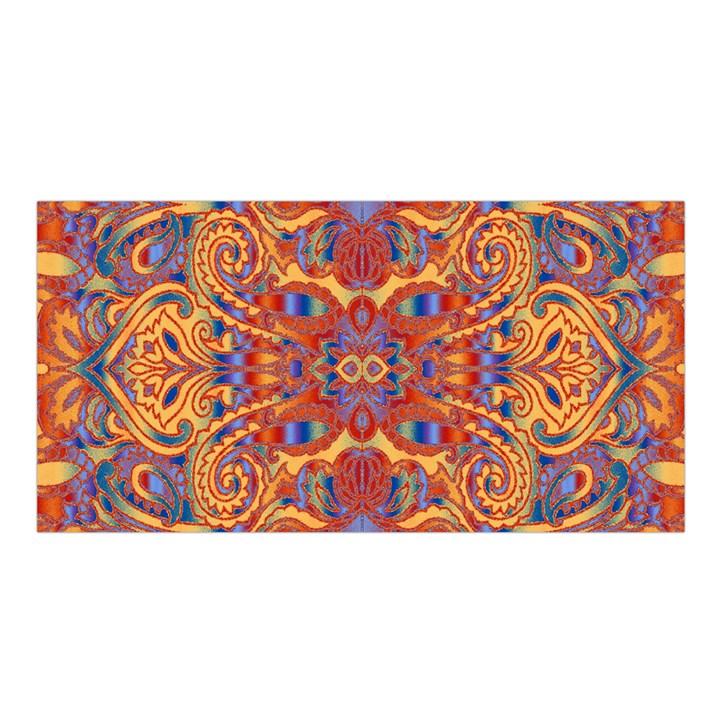 Oriental Watercolor Ornaments Kaleidoscope Mosaic Satin Shawl