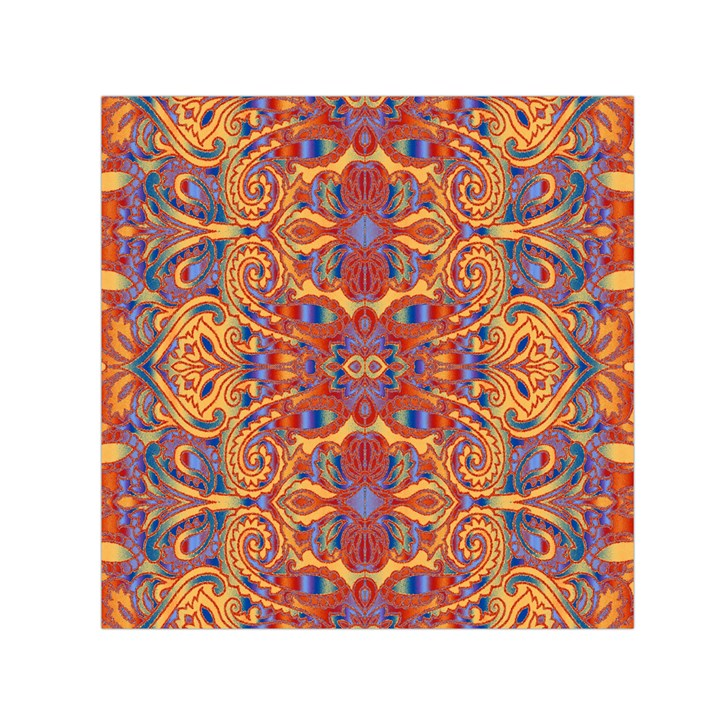 Oriental Watercolor Ornaments Kaleidoscope Mosaic Small Satin Scarf (Square)