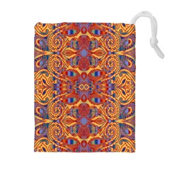Oriental Watercolor Ornaments Kaleidoscope Mosaic Drawstring Pouches (extra Large)