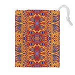 Oriental Watercolor Ornaments Kaleidoscope Mosaic Drawstring Pouches (Extra Large) Front