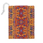 Oriental Watercolor Ornaments Kaleidoscope Mosaic Drawstring Pouches (Extra Large) Back