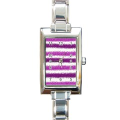 Metallic Pink Glitter Stripes Rectangle Italian Charm Watch