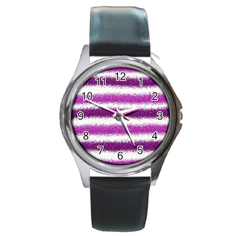 Metallic Pink Glitter Stripes Round Metal Watch