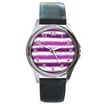 Metallic Pink Glitter Stripes Round Metal Watch Front