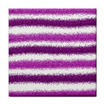 Metallic Pink Glitter Stripes Tile Coasters Front