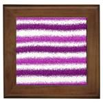 Metallic Pink Glitter Stripes Framed Tiles Front