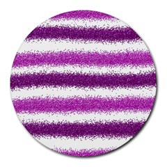 Metallic Pink Glitter Stripes Round Mousepads