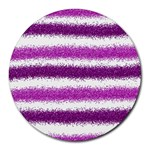 Metallic Pink Glitter Stripes Round Mousepads Front
