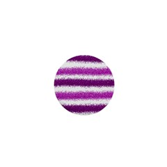 Metallic Pink Glitter Stripes 1  Mini Magnets