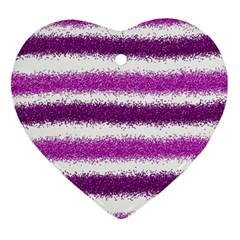 Metallic Pink Glitter Stripes Ornament (Heart)