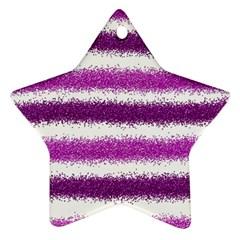 Metallic Pink Glitter Stripes Ornament (Star)
