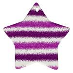 Metallic Pink Glitter Stripes Ornament (Star)  Front