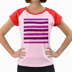 Metallic Pink Glitter Stripes Women s Cap Sleeve T-Shirt