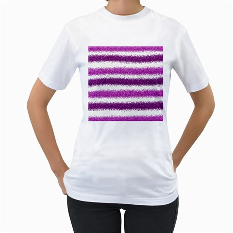 Metallic Pink Glitter Stripes Women s T-Shirt (White) (Two Sided)