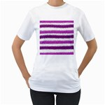 Metallic Pink Glitter Stripes Women s T-Shirt (White) (Two Sided) Front