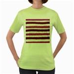 Metallic Pink Glitter Stripes Women s Green T-Shirt Front