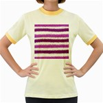 Metallic Pink Glitter Stripes Women s Fitted Ringer T-Shirts Front