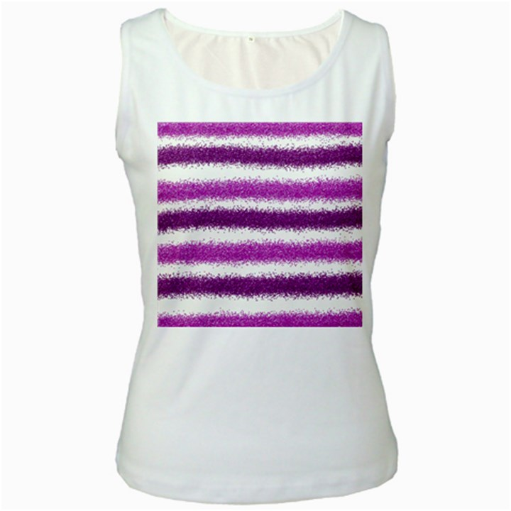 Metallic Pink Glitter Stripes Women s White Tank Top