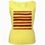 Metallic Pink Glitter Stripes Women s Yellow Tank Top Front