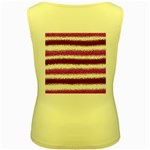 Metallic Pink Glitter Stripes Women s Yellow Tank Top Back