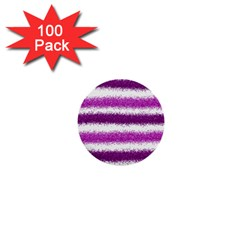 Metallic Pink Glitter Stripes 1  Mini Buttons (100 pack)