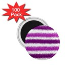Metallic Pink Glitter Stripes 1.75  Magnets (100 pack)  Front