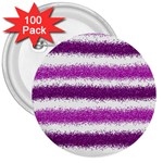 Metallic Pink Glitter Stripes 3  Buttons (100 pack)  Front