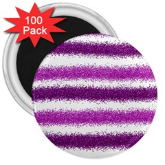 Metallic Pink Glitter Stripes 3  Magnets (100 pack)