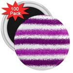 Metallic Pink Glitter Stripes 3  Magnets (100 pack) Front