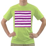 Metallic Pink Glitter Stripes Green T-Shirt Front