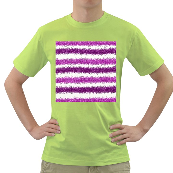 Metallic Pink Glitter Stripes Green T-Shirt