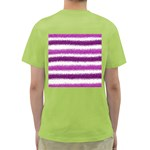 Metallic Pink Glitter Stripes Green T-Shirt Back