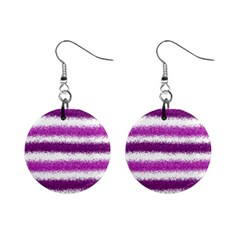 Metallic Pink Glitter Stripes Mini Button Earrings