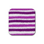 Metallic Pink Glitter Stripes Rubber Square Coaster (4 pack)  Front